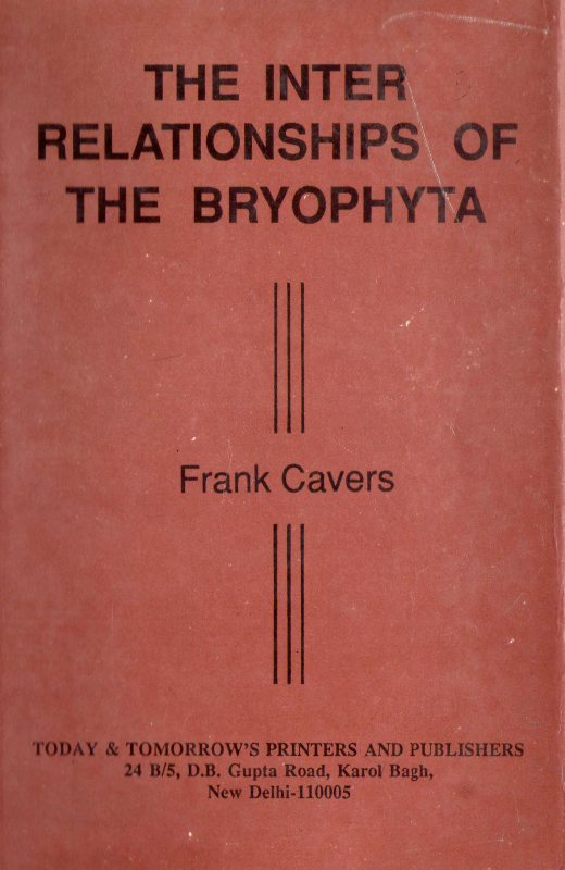 The Inter-Relationships of the Bryophyta