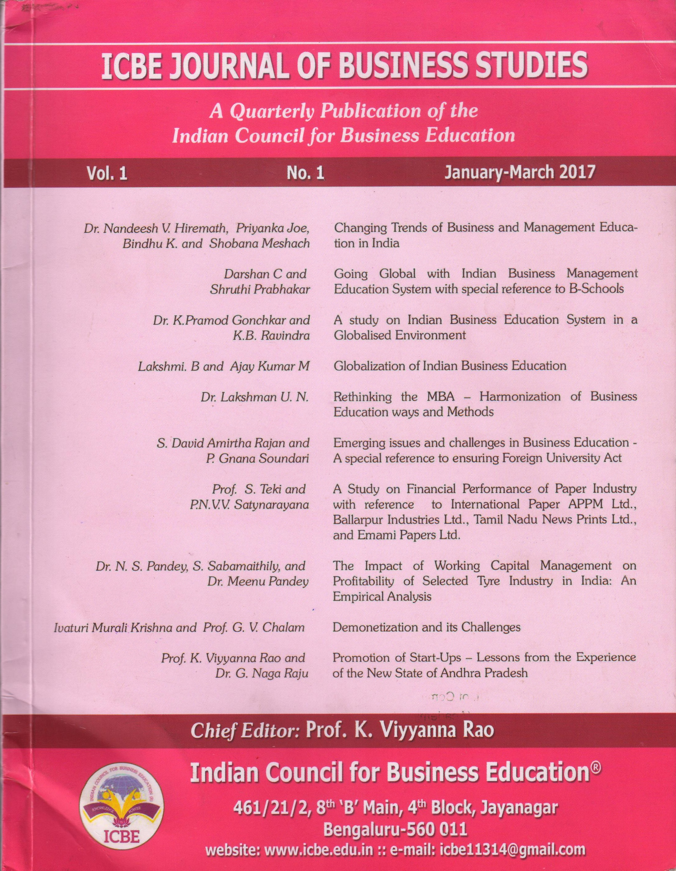 ICBE Journal Of Business Studies Vol.1 No.1 January-March 2017